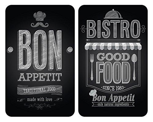Wenko Herdabdeckplatte Universal Bon Appetit 2er Set für alle Herdarten Gehärtetes Glas Multicolor 52 x 30 x 55 cm