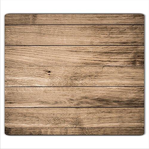 decorwelt  Herdabdeckplatte 60x52 cm Ceranfeldabdeckung 1-Teilig Universal Elektroherd Induktion für Kochplatten Herdschutz Deko Schneidebrett Sicherheitsglas Spritzschutz Glas Holz