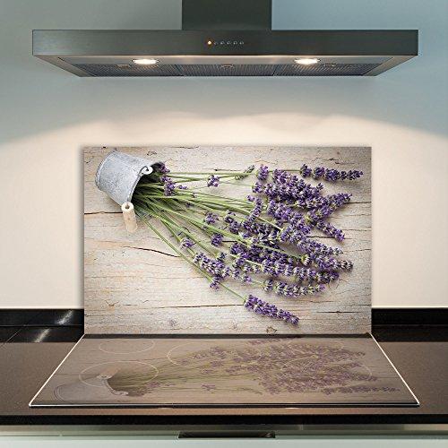 DAMU  Ceranfeldabdeckung 1 Teilig 80x52 cm Herdabdeckplatten aus Glas Blumen Violett Elektroherd Induktion Herdschutz Spritzschutz Glasplatte Schneidebrett