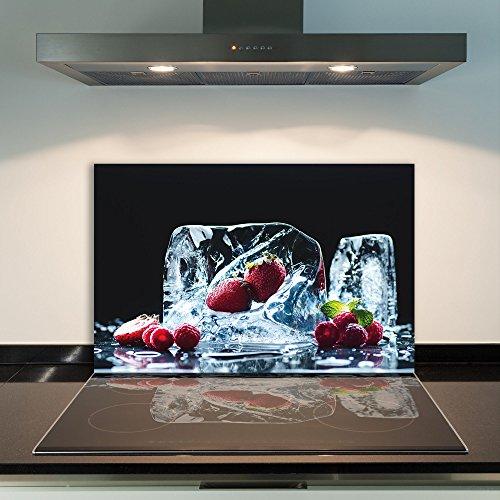 DAMU  Ceranfeldabdeckung 1 Teilig 80x52 cm Herdabdeckplatten aus Glas Obst Eis Rot Elektroherd Induktion Herdschutz Spritzschutz Glasplatte Schneidebrett