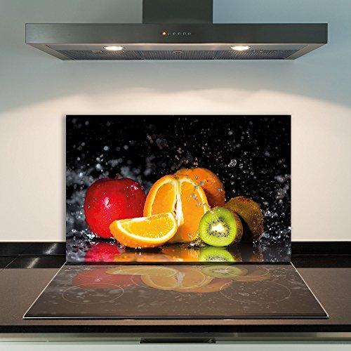 DAMU  Ceranfeldabdeckung 1 Teilig 80x52 cm Herdabdeckplatten aus Glas Obst Orange Rot Elektroherd Induktion Herdschutz Spritzschutz Glasplatte Schneidebrett
