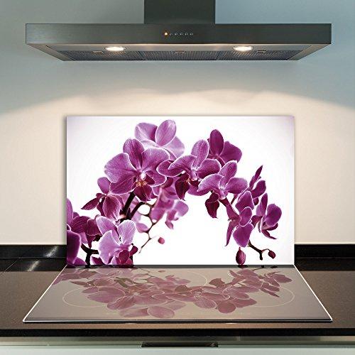 DAMU  Ceranfeldabdeckung 1 Teilig 80x52 cm Herdabdeckplatten aus Glas Orchidee Violett Elektroherd Induktion Herdschutz Spritzschutz Glasplatte Schneidebrett