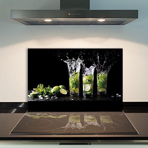 DAMU Ceranfeldabdeckung 1 Teilig 80x52 cm Herdabdeckplatten aus Glas Zitrone GrünElektroherd Induktion Herdschutz Spritzschutz Glasplatte Schneidebrett