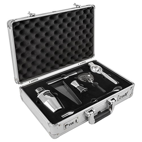 anndora Cocktail Set 7-TLG Barzubehör Mixer Shaker - Aluminium Koffer Silber