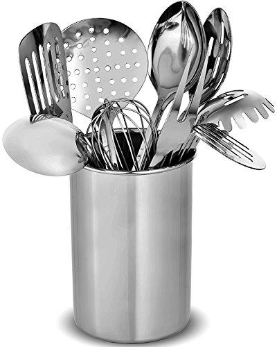 FineDine Premium Stylish 10 Küchenhelfer Set moderne Edelstahl Gadgets für den täglichen Kochen – Turner Spaghetti Server Schöpflöffel Löffel Schneebesen Fleischgabel und Werkzeug Set Halter