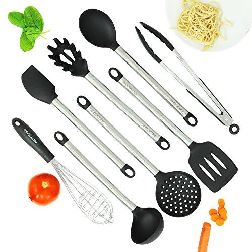 Küchenhelfer von Whitebeard  8-teiliges Küchenutensilien Set aus hochwertigem Edelstahl unverwüstliches Küchenzubehör und Kochgeschirr  Kochen mit Klasse