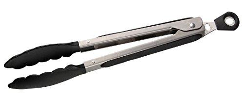 Fackelmann Mehrzweckzange 27 cm Servierzange aus Edelstahl Küchen- und Grillzange für beschichtete Töpfe und Pfannen Farbe SilberSchwarz Menge 1 Stück