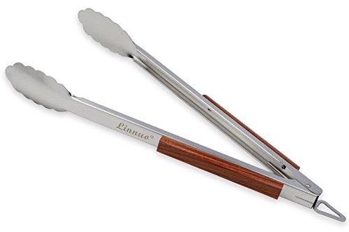 Linnuo Grillzange Edelstahl Holz Griff 45cm XXL Grillzange Küchenzange Zange aus Hochwertigem Edelstahl und Echtem Holz Ideal für Grillen Kochen Servieren 45 x 5 x 5cm