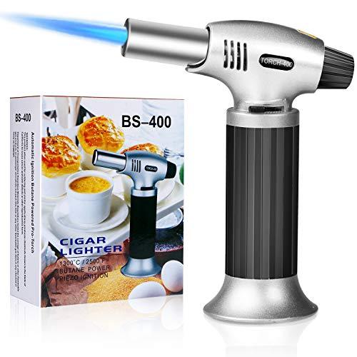 Emooqi Flambierbrenner Küchenbrenner Edelstahl und Aluminium Outdoor Winddichte Butangasbrenner 1300°C für Creme Brulee BBQ Grill KerzenHerdKochen Backen Butan inbegriffen nicht