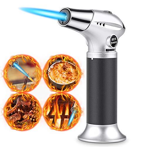 Flambierbrenner Küchenbrenne Butan Gasbrenner Sicherheitsschloss Edelstahl und Aluminium für die Küche Home DIY Brulee Creme Barbecue ZigarettenanzünderHerdKerzenButan inbegriffen nicht