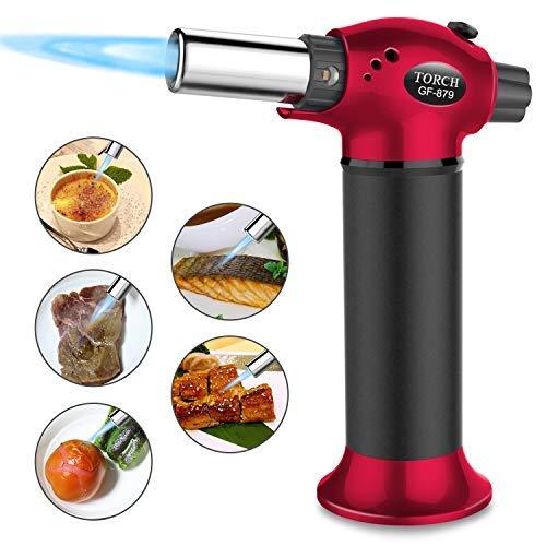 Luckea Küchenbrenner Feuerzeug mit Butangas und einstellbarer Flamme für Creme Brulee BBQ Backen Hausbar Butangas nicht im Lieferumfang enthalten rot