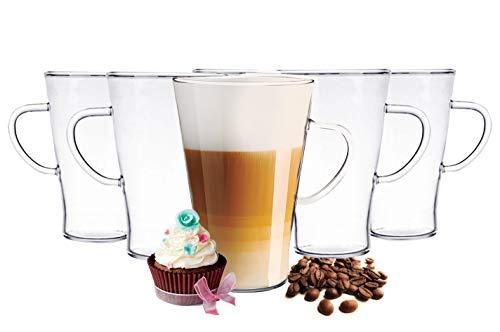 6 Latte Macchiato Gläser 400 ml mit Henkel und 6 Edelstahl-Löffel Teegläser Kaffeegläser