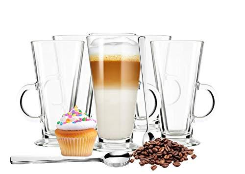 Sendez 6 Latte Macchiato Gläser und 6 Edelstahl-Löffeln gratis Kaffeegläser Teeglas