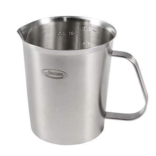 Messbecher verbessert 3 Messskalen einschließlich Cup Skala ML Skala Ounce Skala Newness Edelstahl-Messbecher Milchkännchen mit Markierung mit Griff Milk Pitcher 05 Liter 16 Ounce 2 Tasse