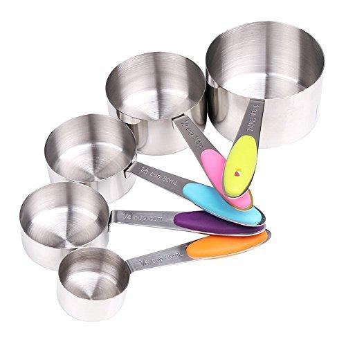 YIAN 5er Messlöffel Edelstahl Measuring Cups Messbecher mit rutschfester Silikon Griff 250ML125ML80ML60ml30ml Best für Küche Kochen Backen