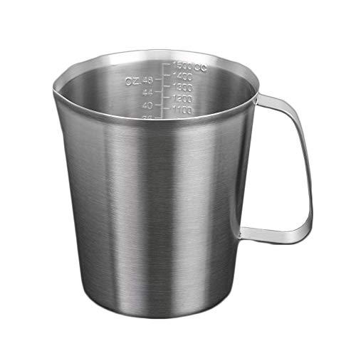 ZHER-LU 304 Edelstahl Messbecher mit Skala für Küche Backen Kochen Tassen Teelöffel Utensilien Messlöffel 2000ml