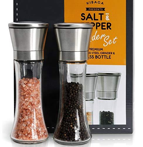 KIBAGA Salz und Pfeffer Mühle 2er Set mit verstellbarem Keramikmahlwerk - Auch als Gewürzmühle geeignet - Edelstahl Salzmühle und Pfeffermühle Für Frisch Gemahlene Gewürze