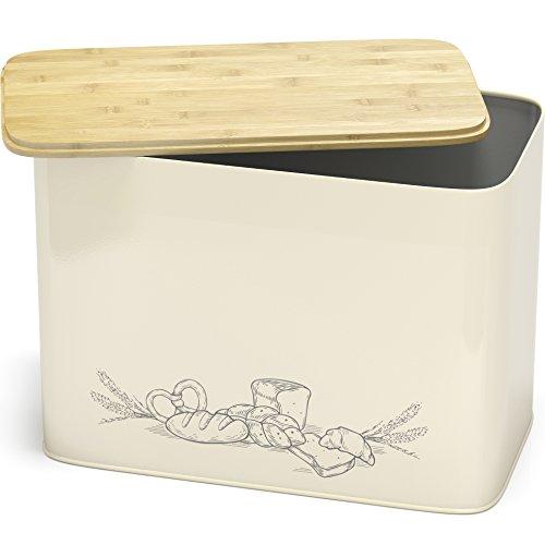 Großer Brotkasten mit Bambus Schneidebrett Deckel – XXL Vintage Brotbox Toastbrotbox aus Metall im Retro Look – stylischer Metallbox Brottopf – spülmaschinengeeignet