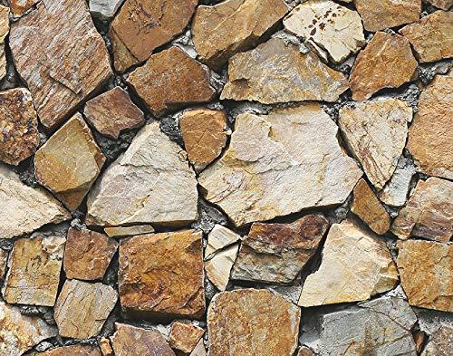 Artland Premium Spritzschutz Küche I Küchenrückwand Herd aus Alu-Verbundplatte BxH 70x55 cm sehr schnelle und einfache Montage Braune Steinwand