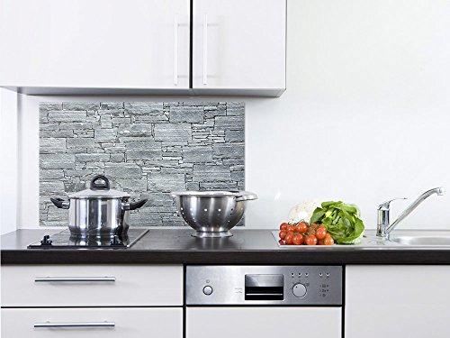 GRAZDesign 200070_60x60_SP Küchen-Spritzschutz aus Echtglas  Bild-Motiv Steinoptik in grau  Glasbild als Küchenrückwand - Küchenspiegel 60x60cm