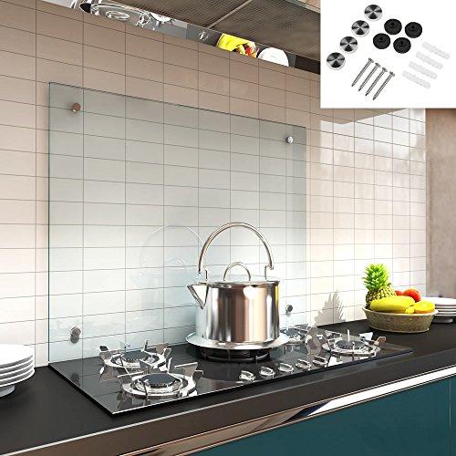 Melko Glas Küchenrückwand  Spritzschutz Herdblende – 6 mm ESG Sicherheitsglas - Fliesenspiegel inkl Befestigungsmaterial Klarglas 100 x 60 cm