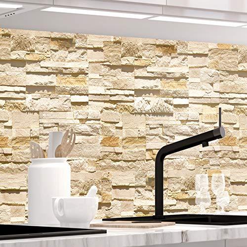 StickerProfis Küchenrückwand selbstklebend Pro STEINWAND Ashlar 60 x 60cm DIY - Do It Yourself PVC Spritzschutz