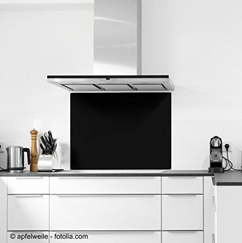 6mm ESG Glas Küchenrückwand Spritzschutz Herd Fliesenspiegel Glasplatte Rückwand viele Größen Schwarz 90x70cm