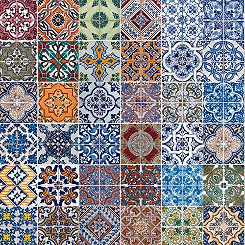Artland Qualität I Alu Küchenrückwand Spritzschutz Küche 60 x 60 cm Abstrakte Motive Muster Foto Bunt F1RO Gemusterte Keramikfliesen