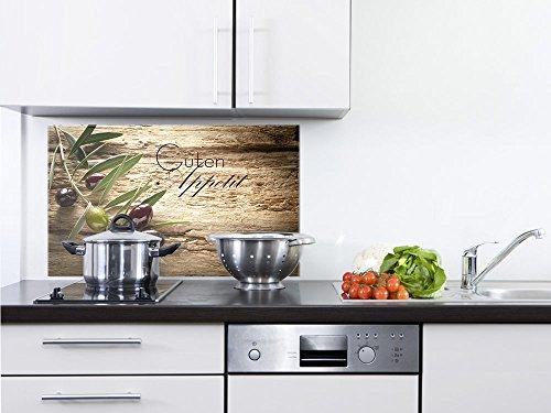 GRAZDesign 200117_100x60_SP Spritzschutz Glas für KücheHerd  Bild-Motiv Olivenzweig mit Schrift  Küchenrückwand Küchenspiegel Glasrückwand 100x60cm