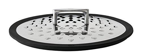 RÖSLE SILENCE Spritzschutz - Deckel Edelstahl 1810 eingefasste Ränder aus Silikon Luftauslass-ErhebungenSieböffnungen spülmaschinengeeignet
