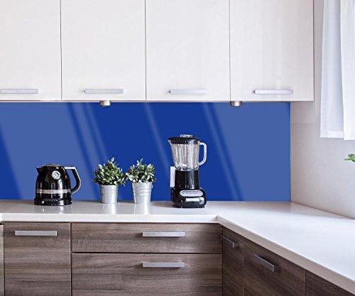Küchenrückwand einfarbig Königsblau Nischenrückwand Spritzschutz Design M0745 180 x 60cm B x H - Acrylglas 4mm Rückwand Küche Fotorückwand Küchenbild Bild Foto Motiv Herd Fliesenspiegel