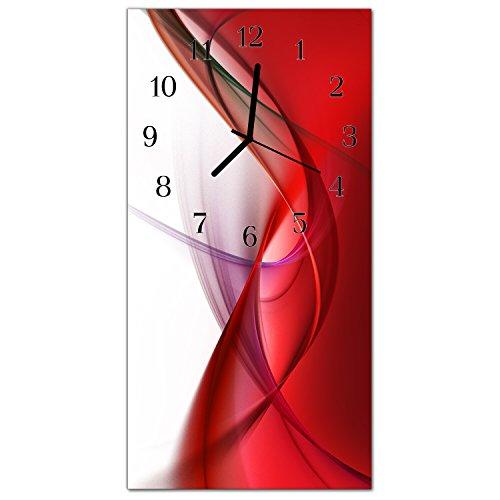 DekoGlas Glasuhr Abstrakt Rot Uhr aus Acrylglas eckig große Motiv Wanduhr 30x60 cm lautlos für Wohnzimmer Küche