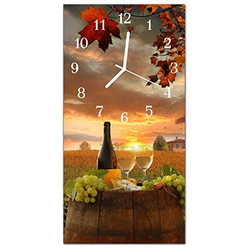 DekoGlas Glasuhr Traube Wein Mehrfarbig Uhr aus Acrylglas eckig große Motiv Wanduhr 30x60 cm lautlos für Wohnzimmer Küche