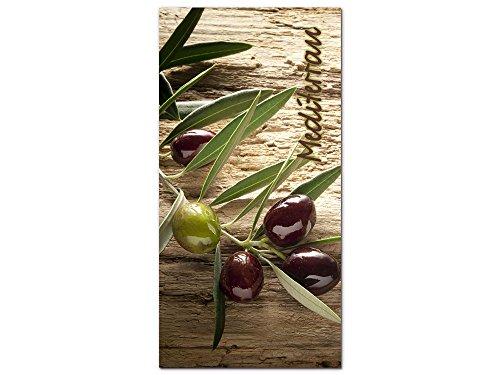 GRAZDesign 100267_001_01_04 Acrylglas Wandbild mit Spruch Mediterran und Oliven  Küchen-Bild als Wand-Deko  Esszimmer Modern Gestalten 50x100cm