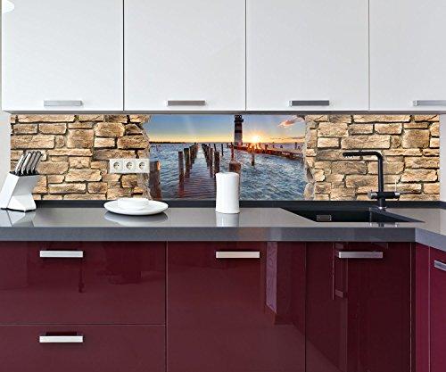 Küchenrückwand 3D Leuchtturm mit Pier - Steinmauer Nischenrückwand Spritzschutz Design M0651 260 x 50cm B x H - Acrylglas 4mm Rückwand Küche Fotorückwand Küchenbild Bild Foto Motiv Herd