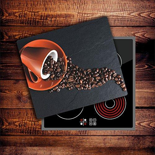CTC-Trade  Herdabdeckplatten 60x52 cm Ceranfeld Abdeckung Glas Spritzschutz Abdeckplatte Glasplatte Herd Ceranfeldabdeckung Küche Braun Kaffee