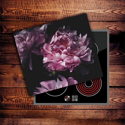 CTC-Trade  Herdabdeckplatten 60x52 cm Ceranfeld Abdeckung Glas Spritzschutz Abdeckplatte Glasplatte Herd Ceranfeldabdeckung Küche Pink Natur