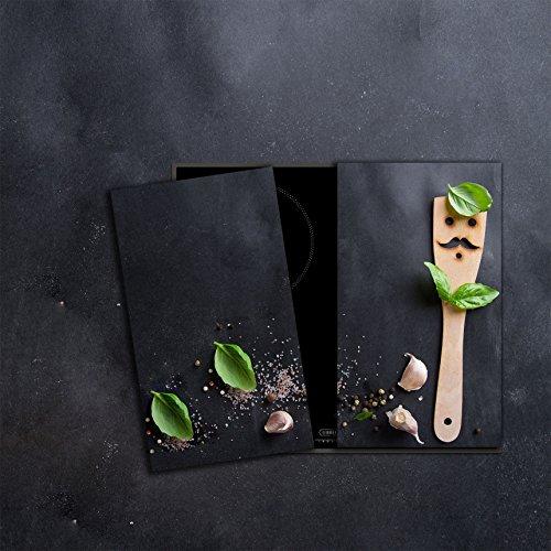 CTC-Trade Herdabdeckplatten Set 2x30x52 cm Ceranfeld Abdeckung Glas Spritzschutz Abdeckplatte Glasplatte Herd Ceranfeldabdeckung Dunkel Gewürze