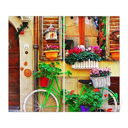 banjado Herdabdeckplatte aus Glas  Herdabdeckung zweiteilig je 30x52cm  Spritzschutz für Ceranfeld oder Induktionsherd  Schneidebrett perfekt für die Küche mit Motiv Grünes Fahrrad