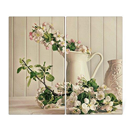 banjado Herdabdeckplatte aus Glas  Herdabdeckung zweiteilig je 30x52cm  Spritzschutz für Ceranfeld oder Induktionsherd  Schneidebrett perfekt für die Küche mit Motiv Stillleben Kirschblüten