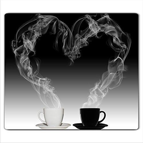 decorwelt  Herdabdeckplatte 60x52 cm Ceranfeldabdeckung 1-Teilig Universal Elektroherd Induktion für Kochplatten Herdschutz Deko Schneidebrett Sicherheitsglas Spritzschutz Glas Kaffee