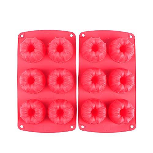 Webake 2er- Set Mini Gugelhupfform Muffinförmchen für 6 Muffins Cupcake Bronnies Kuchen Pudding Form aus Silikon antihaftbeschichtet Ø67cm Rot