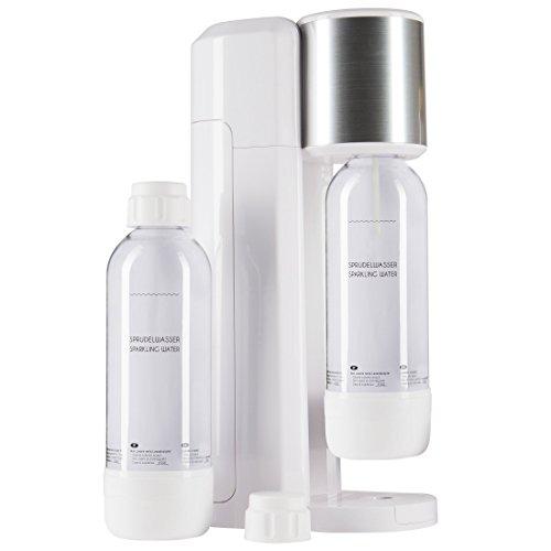 Levivo Wassersprudler Set  Trinkwassersprudler Starter Set inkl 2 Sprudlerflaschen aus PET klassischer Sodabereiter für individuelles Zusetzen von Kohlensäure in Leitungswasser Weiß
