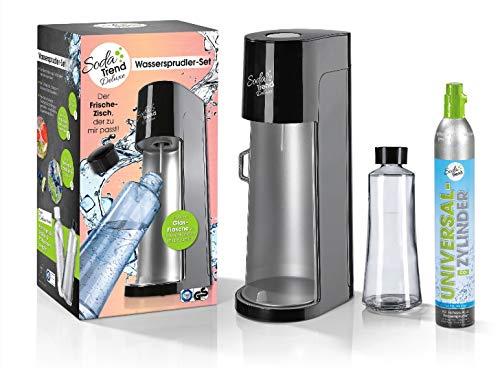 Soda Trend 06279 Wassersprudler Deluxe schwarz inkl Glasflasche 720ml u CO2 Zylinder 60l  Wasserspender für Sprudelwasser  Wassersprudlergerät