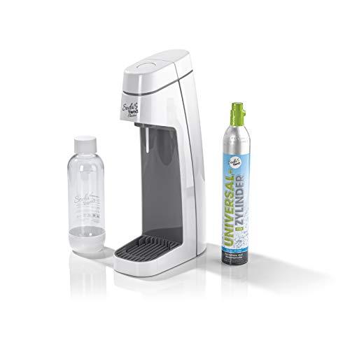 Soda Trend 06281 Wassersprudler Classic weiß inkl PET-Flasche 850ml u CO2 Zylinder 60l  Wasserspender für Sprudelwasser  Wassersprudlergerät