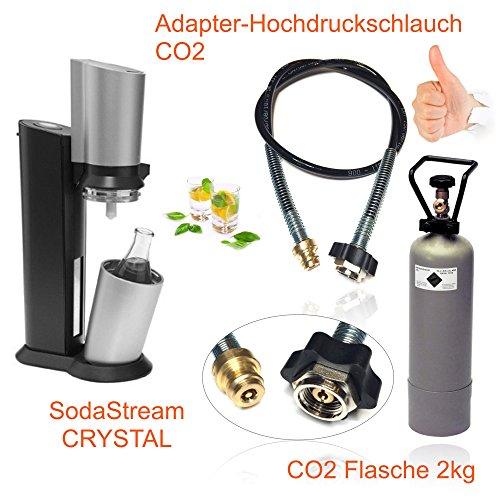 Wassersprudler SODASTREAM Crystal  CO2 Adapter-Hochdruckschlauch  2kg Eigentumsflasche CO2 Bis zu 350 Liter Sprudelwasser pro Füllung CO2 Schlauch umfüllen