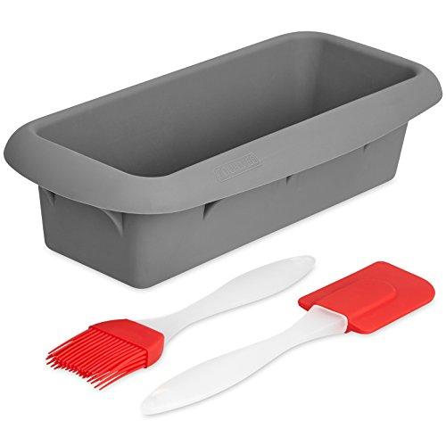 GOURMEO Silikon-Backform – für Kuchen und Brote – mit Anthihaftbeschichtung Länge 22cm – inklusive Pinsel und Schaber