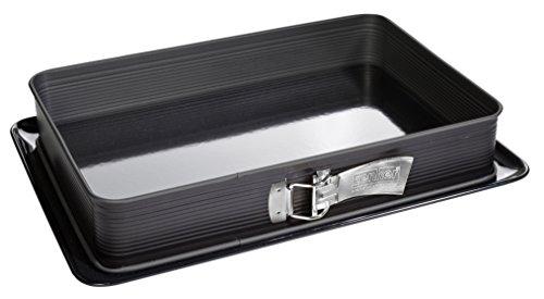 Zenker Rechteck-Springform DELUXE eckige Premium-Backform mit emailliertem Boden und Auslaufschutz Kuchenform mit Antihaftbeschichtung Farbe Schwarz metallic Menge 1 Stück