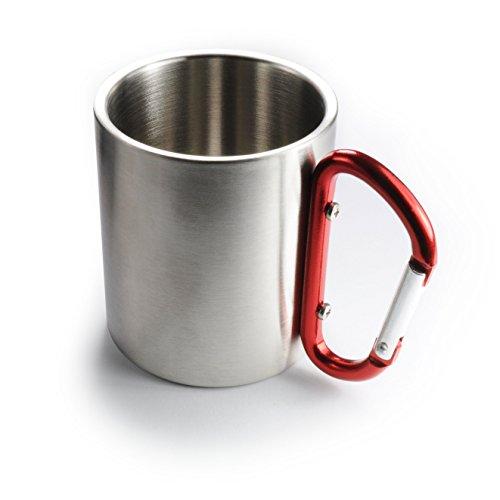 Edelstahl Becher  Thermobecher doppelwandig isoliert 220ml Trinkbecher  Tasse in der Farbe Silber mit rotem Karabiner - Marke Ganzoo