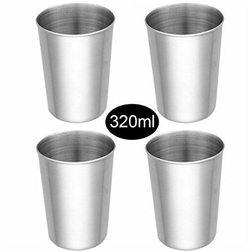 iiniim 24er Set Edelstahl Becher Tasse Schnaps Becher Kleinkinder Trink Gläser Tassen 50ml180ml320ml500ml Silber C 4x320ml